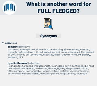 full-fledged, synonym full-fledged, another word for full-fledged, words like full-fledged, thesaurus full-fledged