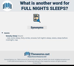 full nights sleeps, synonym full nights sleeps, another word for full nights sleeps, words like full nights sleeps, thesaurus full nights sleeps
