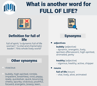 full of life, synonym full of life, another word for full of life, words like full of life, thesaurus full of life