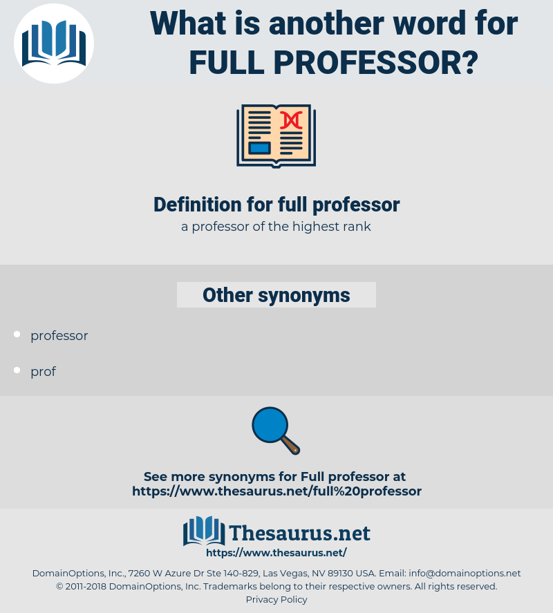 full professor, synonym full professor, another word for full professor, words like full professor, thesaurus full professor