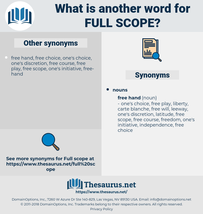 full scope, synonym full scope, another word for full scope, words like full scope, thesaurus full scope