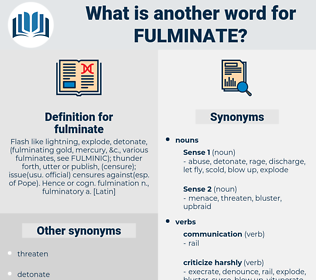 fulminate, synonym fulminate, another word for fulminate, words like fulminate, thesaurus fulminate