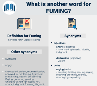 Fuming, synonym Fuming, another word for Fuming, words like Fuming, thesaurus Fuming