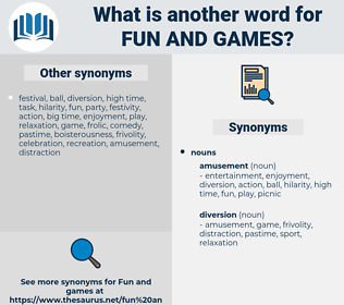 fun and games, synonym fun and games, another word for fun and games, words like fun and games, thesaurus fun and games