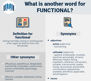 functional, synonym functional, another word for functional, words like functional, thesaurus functional