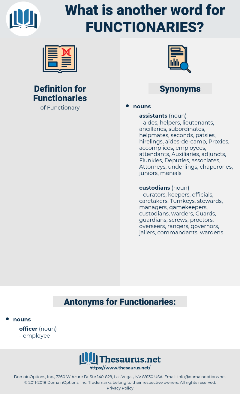 Functionaries, synonym Functionaries, another word for Functionaries, words like Functionaries, thesaurus Functionaries