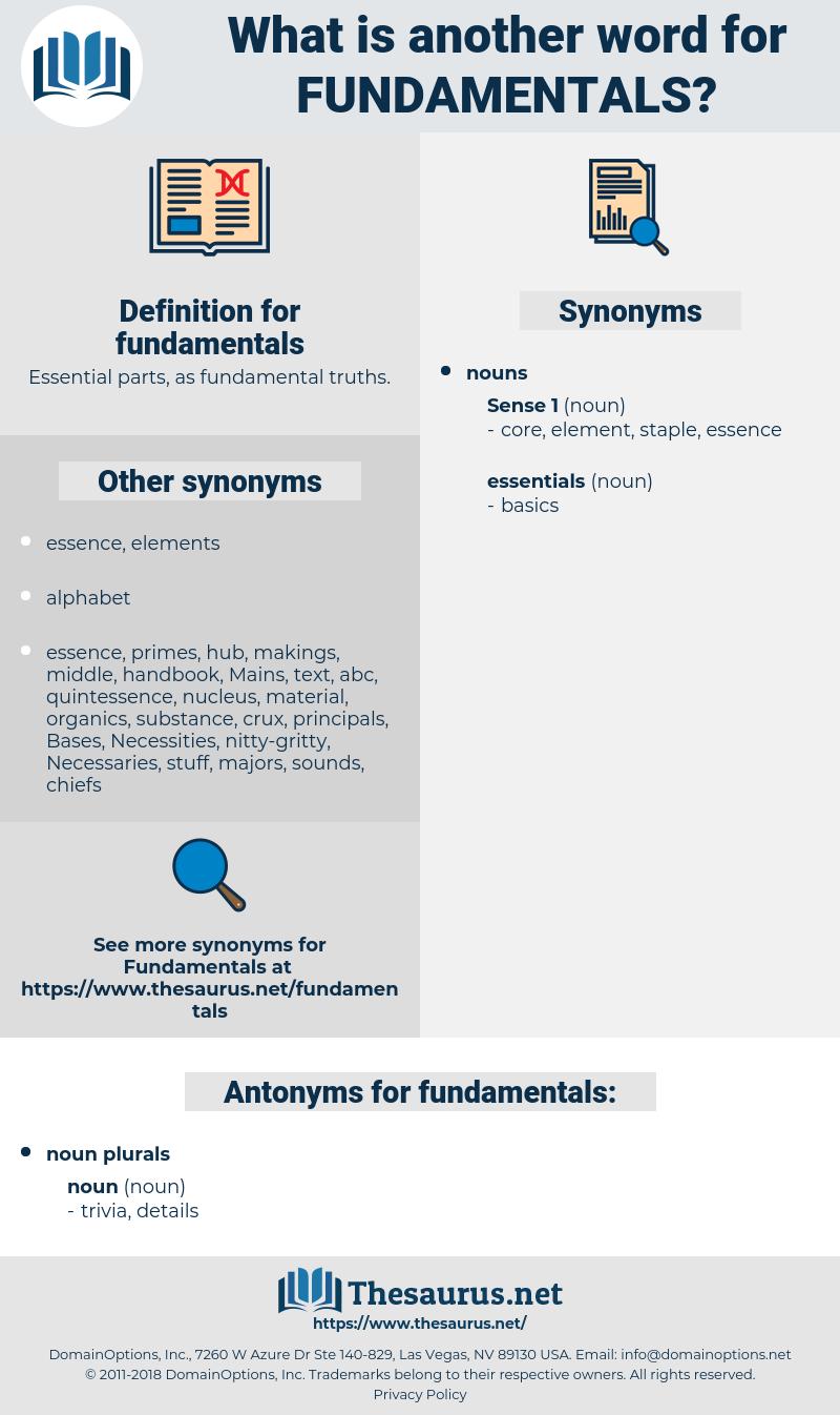 fundamentals, synonym fundamentals, another word for fundamentals, words like fundamentals, thesaurus fundamentals
