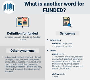 funded, synonym funded, another word for funded, words like funded, thesaurus funded