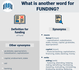 funding, synonym funding, another word for funding, words like funding, thesaurus funding
