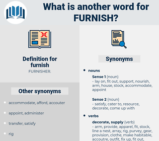 furnish, synonym furnish, another word for furnish, words like furnish, thesaurus furnish
