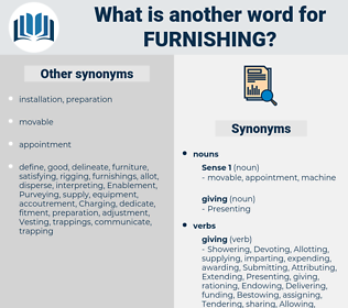Furnishing, synonym Furnishing, another word for Furnishing, words like Furnishing, thesaurus Furnishing