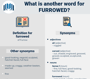 furrowed, synonym furrowed, another word for furrowed, words like furrowed, thesaurus furrowed