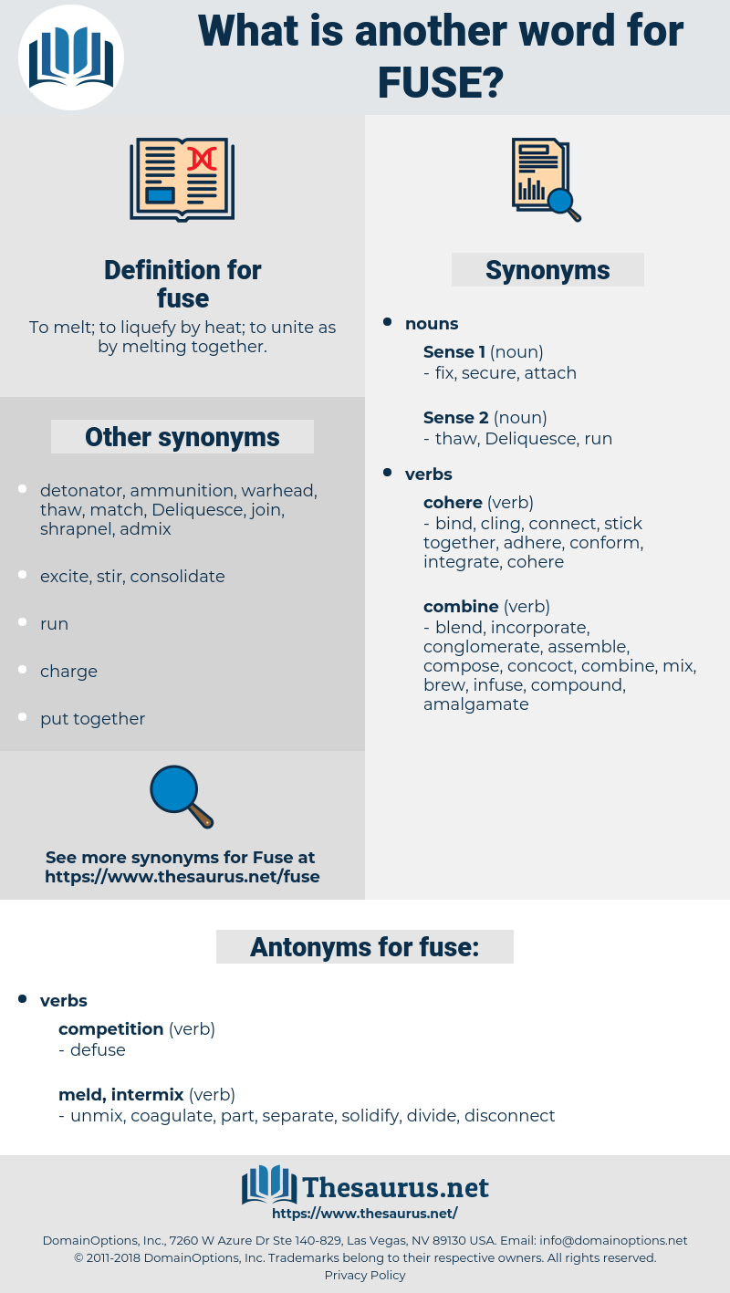 fuse, synonym fuse, another word for fuse, words like fuse, thesaurus fuse