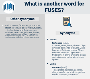 fuses, synonym fuses, another word for fuses, words like fuses, thesaurus fuses