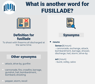 fusillade, synonym fusillade, another word for fusillade, words like fusillade, thesaurus fusillade