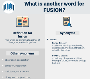 fusion, synonym fusion, another word for fusion, words like fusion, thesaurus fusion