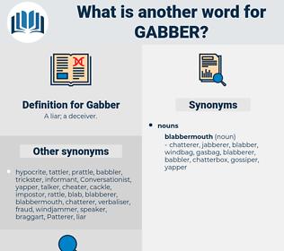 Gabber, synonym Gabber, another word for Gabber, words like Gabber, thesaurus Gabber