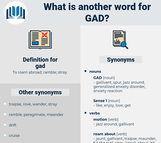 gad, synonym gad, another word for gad, words like gad, thesaurus gad