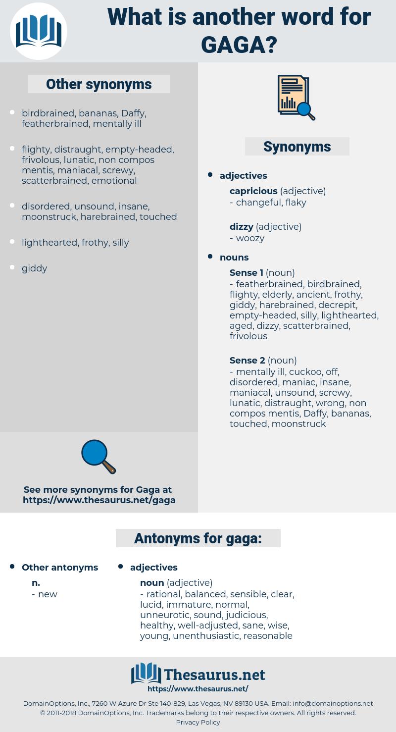 gaga, synonym gaga, another word for gaga, words like gaga, thesaurus gaga
