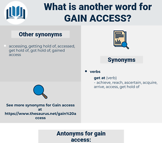 gain access, synonym gain access, another word for gain access, words like gain access, thesaurus gain access