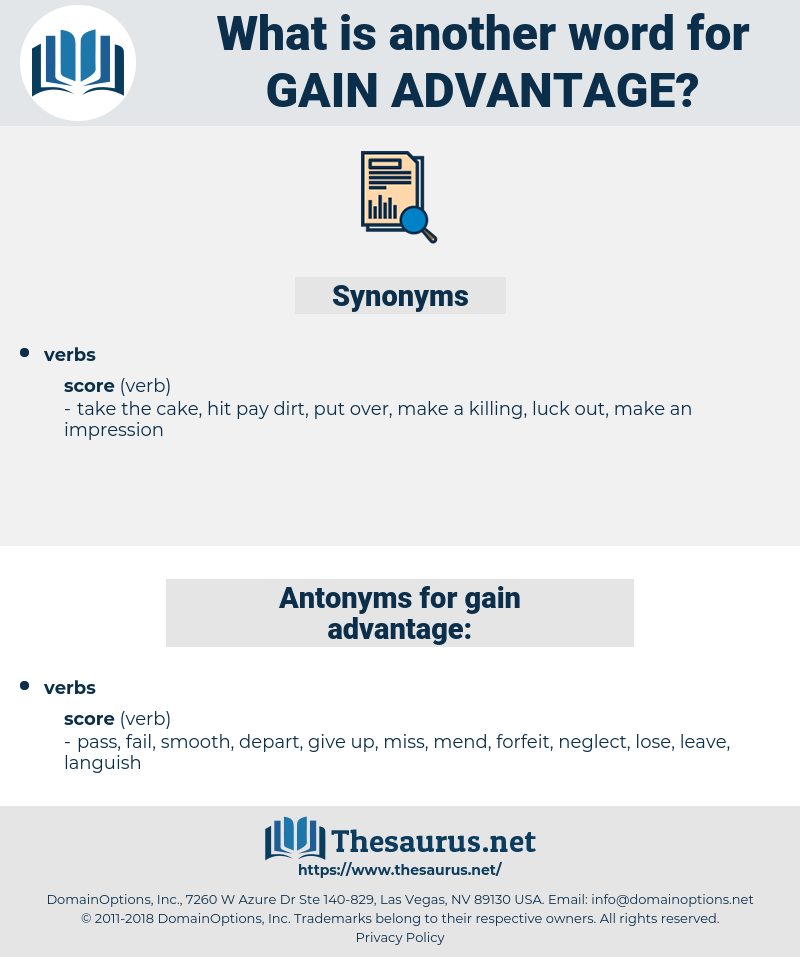 gain advantage, synonym gain advantage, another word for gain advantage, words like gain advantage, thesaurus gain advantage