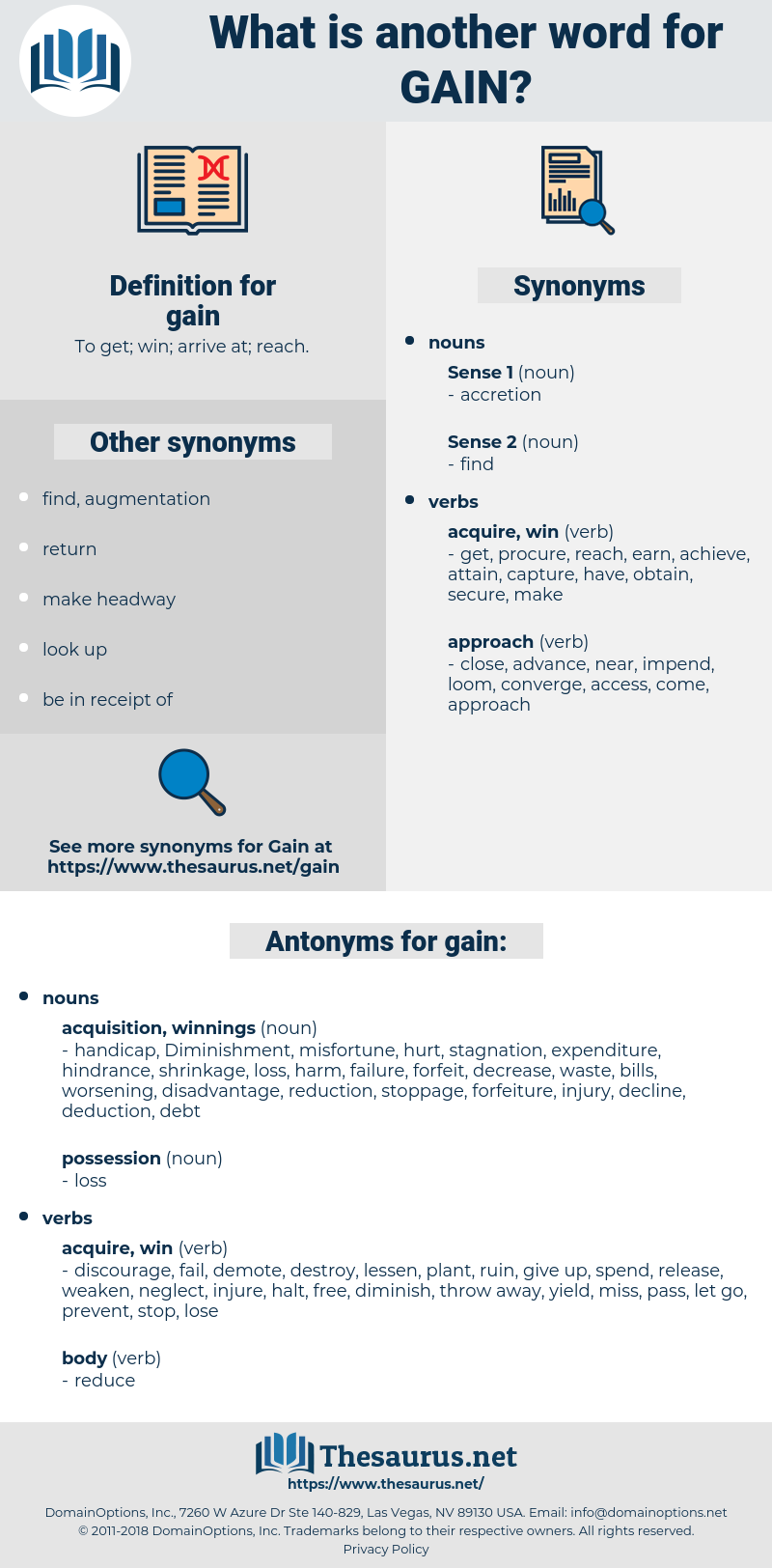 gain, synonym gain, another word for gain, words like gain, thesaurus gain