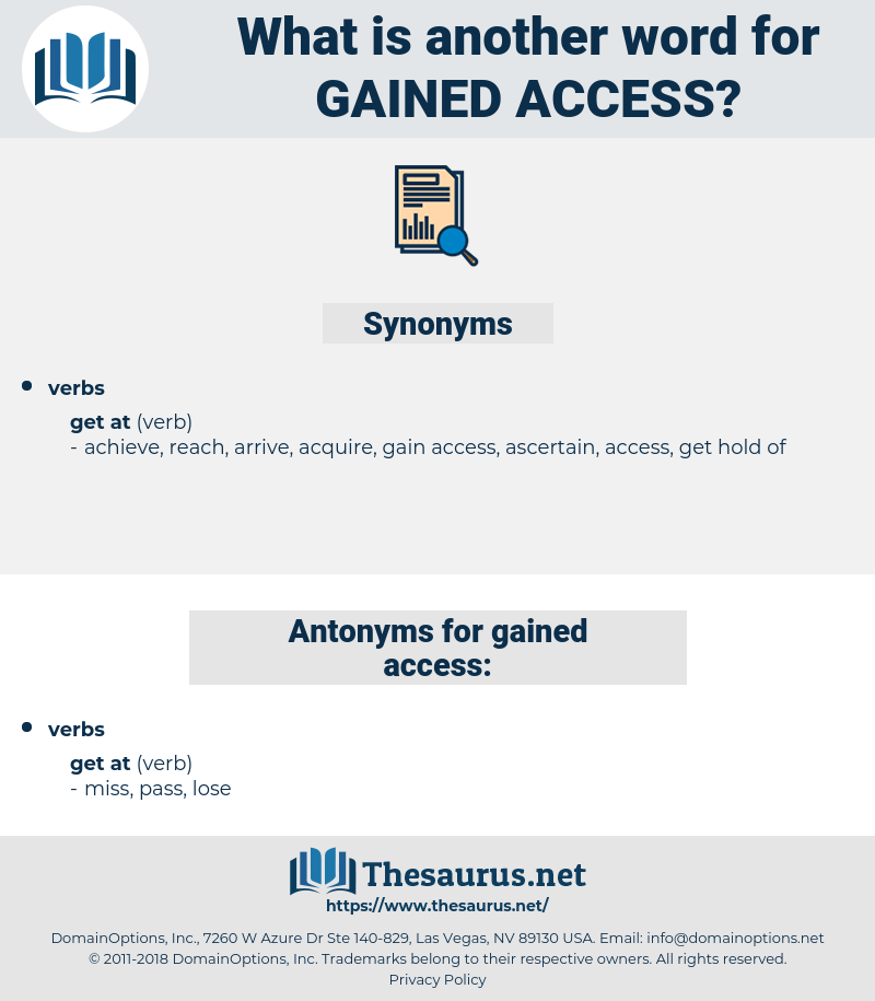 gained access, synonym gained access, another word for gained access, words like gained access, thesaurus gained access