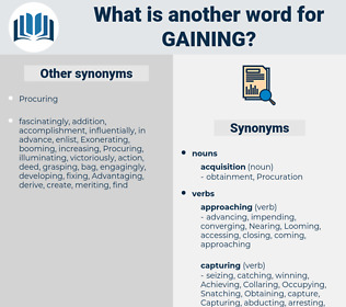 Gaining, synonym Gaining, another word for Gaining, words like Gaining, thesaurus Gaining