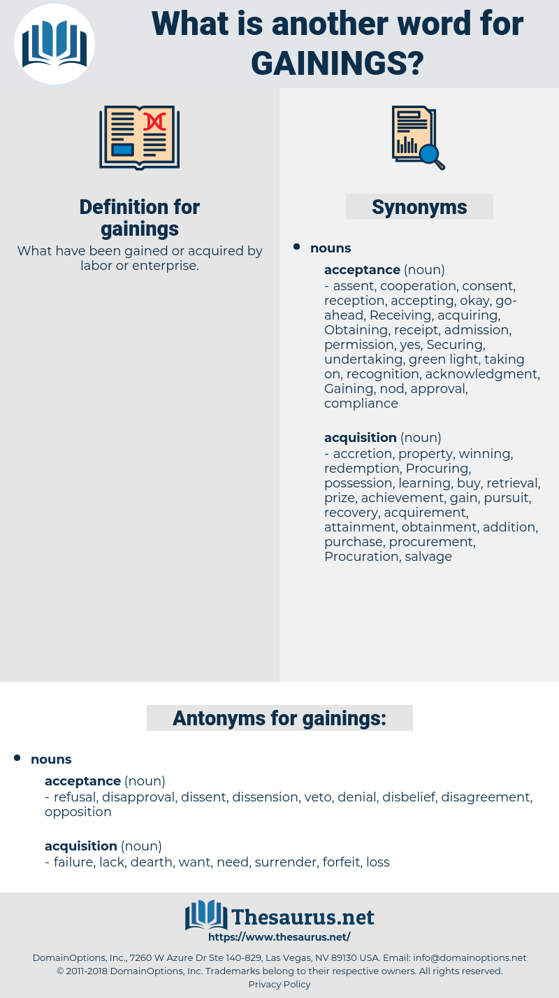 gainings, synonym gainings, another word for gainings, words like gainings, thesaurus gainings