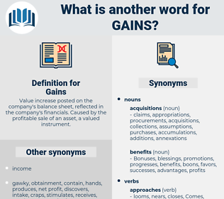 Gains, synonym Gains, another word for Gains, words like Gains, thesaurus Gains