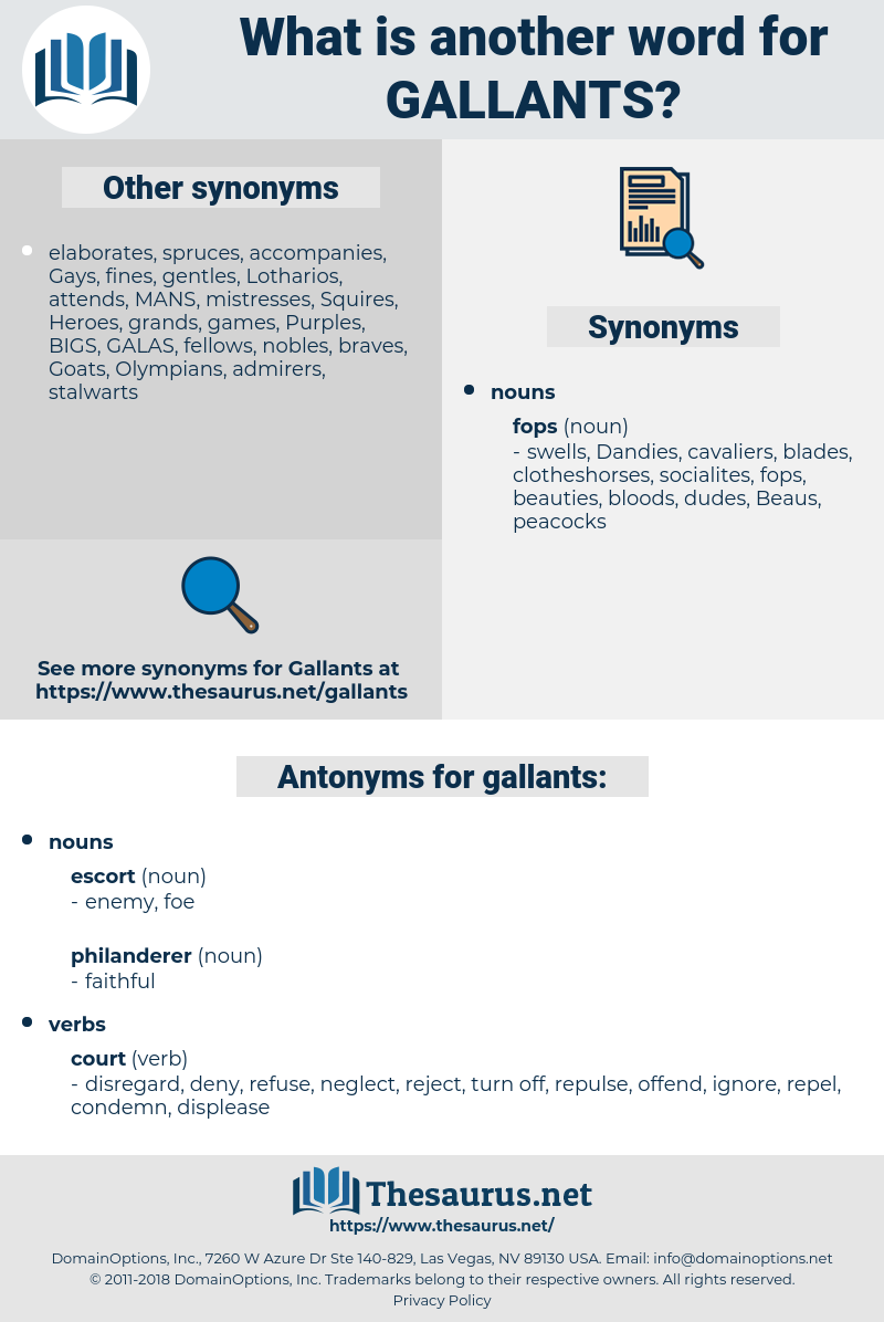 gallants, synonym gallants, another word for gallants, words like gallants, thesaurus gallants
