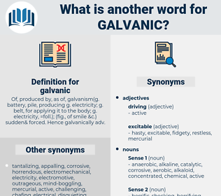galvanic, synonym galvanic, another word for galvanic, words like galvanic, thesaurus galvanic