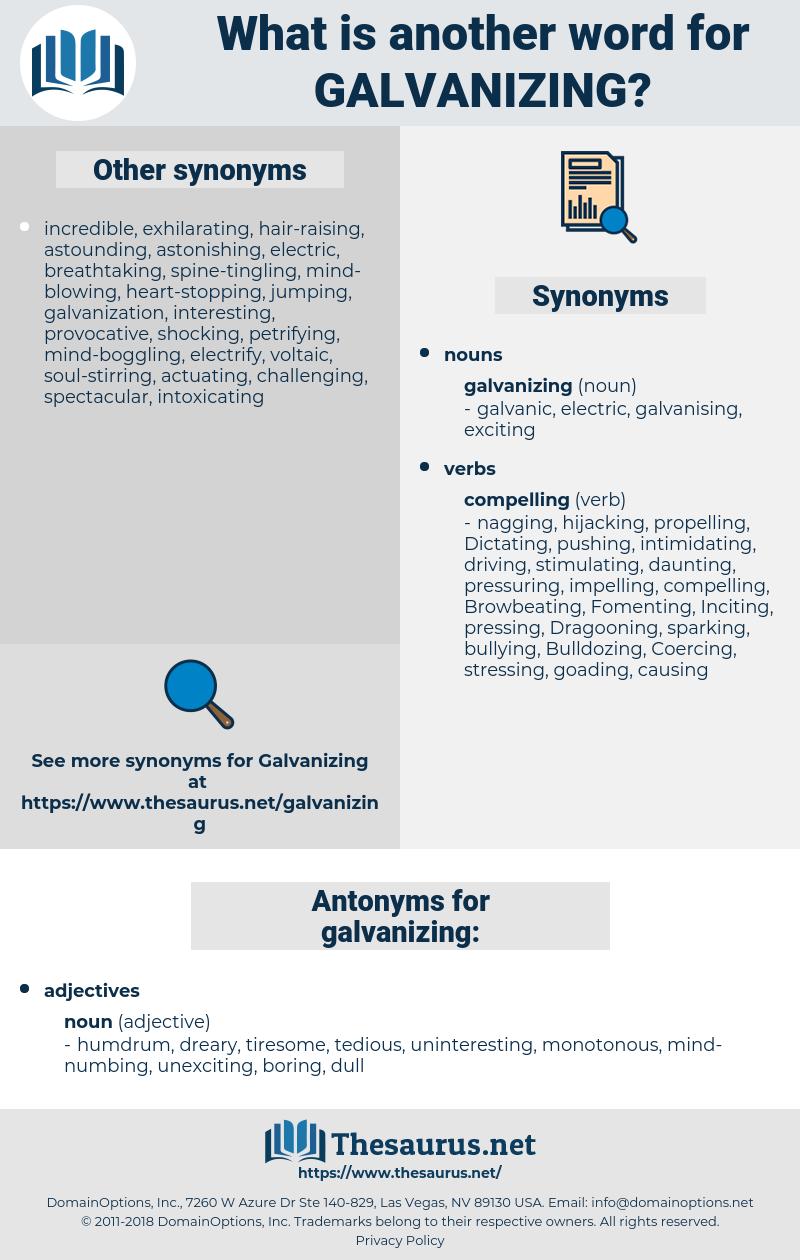 galvanizing, synonym galvanizing, another word for galvanizing, words like galvanizing, thesaurus galvanizing