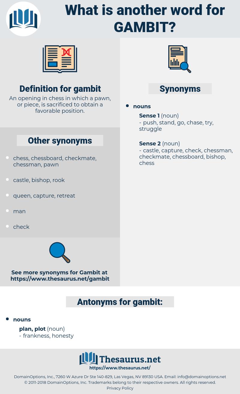 gambit, synonym gambit, another word for gambit, words like gambit, thesaurus gambit