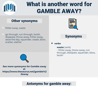 gamble away, synonym gamble away, another word for gamble away, words like gamble away, thesaurus gamble away