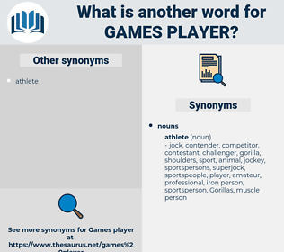 games player, synonym games player, another word for games player, words like games player, thesaurus games player