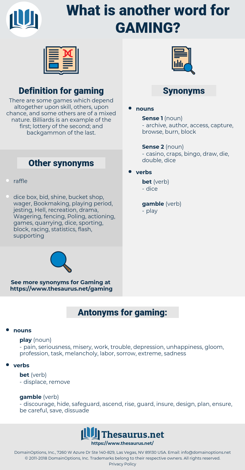 gaming, synonym gaming, another word for gaming, words like gaming, thesaurus gaming