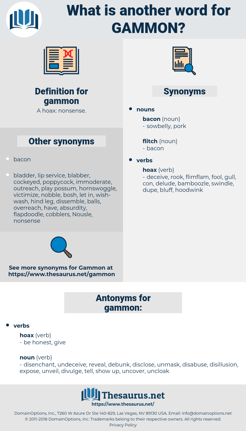 gammon, synonym gammon, another word for gammon, words like gammon, thesaurus gammon