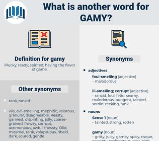 gamy, synonym gamy, another word for gamy, words like gamy, thesaurus gamy