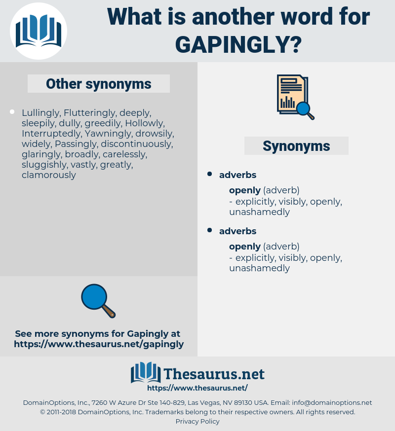 gapingly, synonym gapingly, another word for gapingly, words like gapingly, thesaurus gapingly