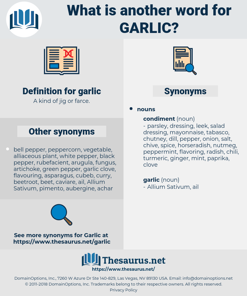 garlic, synonym garlic, another word for garlic, words like garlic, thesaurus garlic