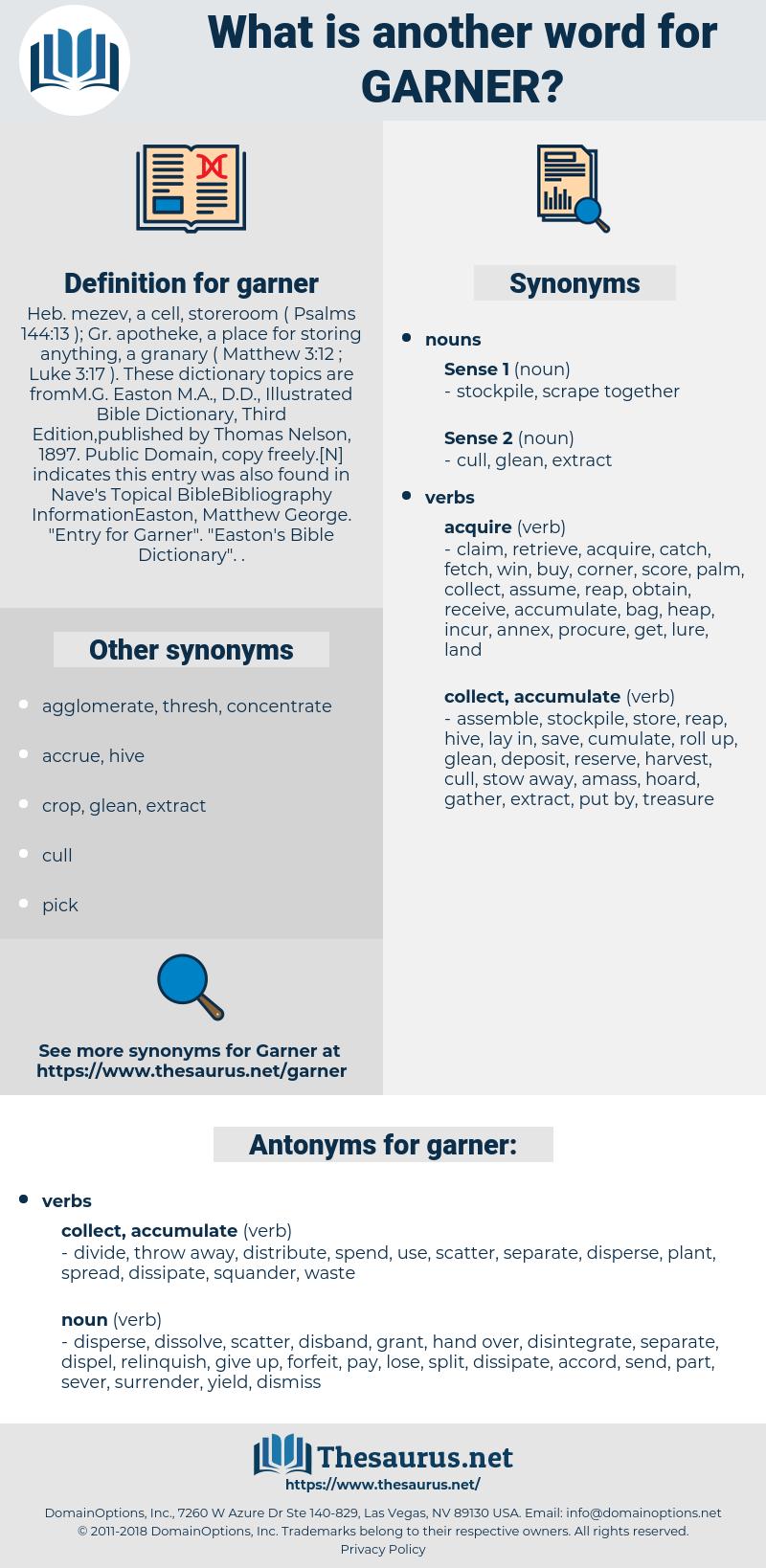 garner, synonym garner, another word for garner, words like garner, thesaurus garner