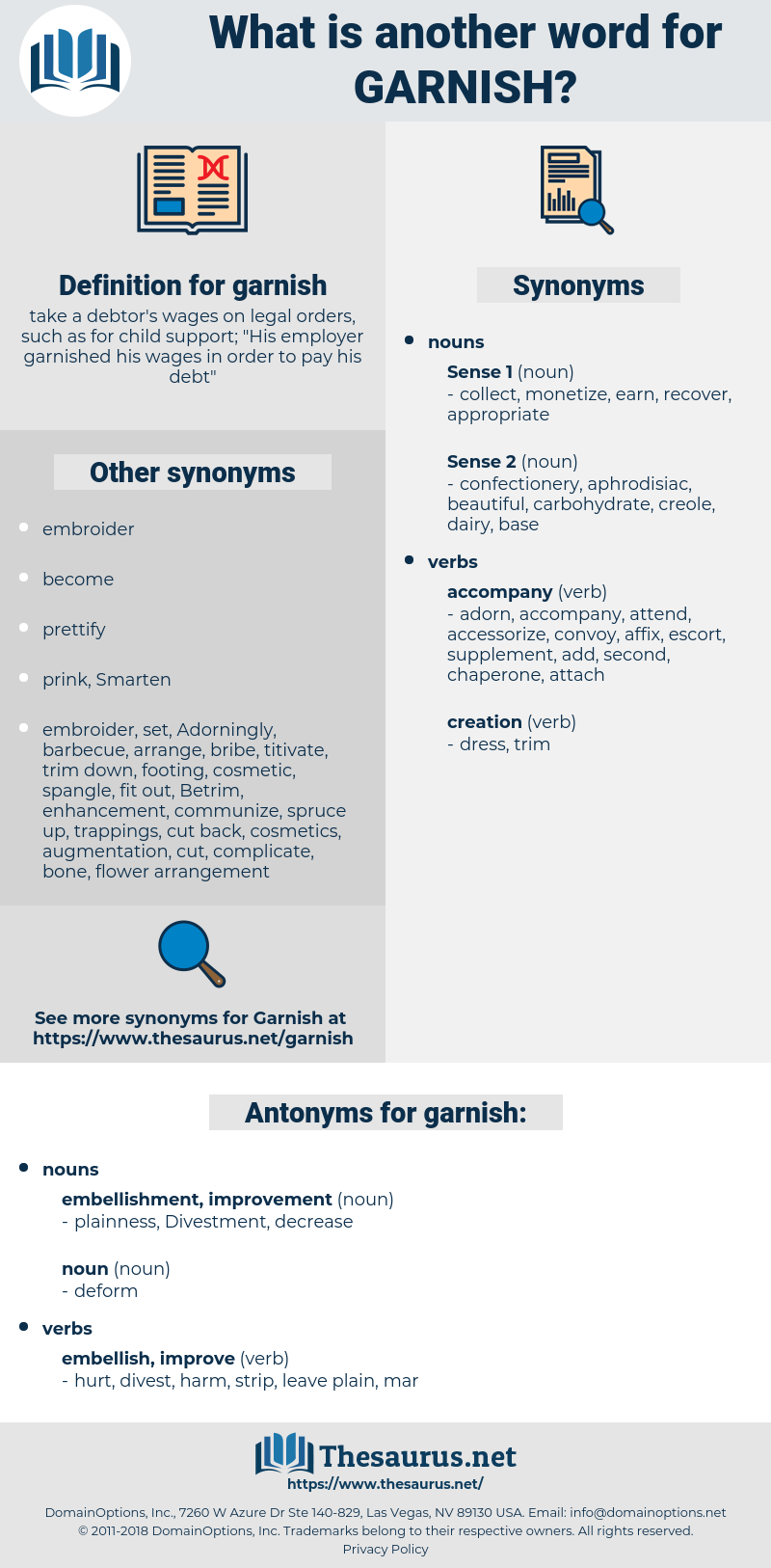 garnish, synonym garnish, another word for garnish, words like garnish, thesaurus garnish