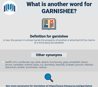 garnishee, synonym garnishee, another word for garnishee, words like garnishee, thesaurus garnishee