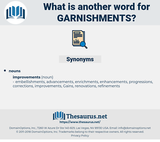 garnishments, synonym garnishments, another word for garnishments, words like garnishments, thesaurus garnishments
