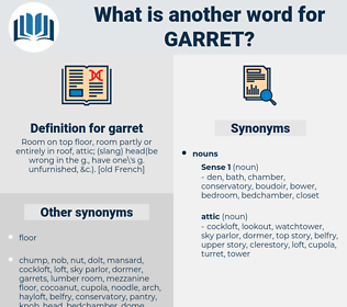 garret, synonym garret, another word for garret, words like garret, thesaurus garret