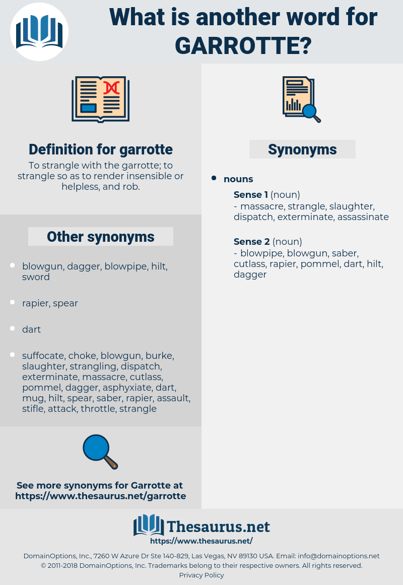 garrotte, synonym garrotte, another word for garrotte, words like garrotte, thesaurus garrotte