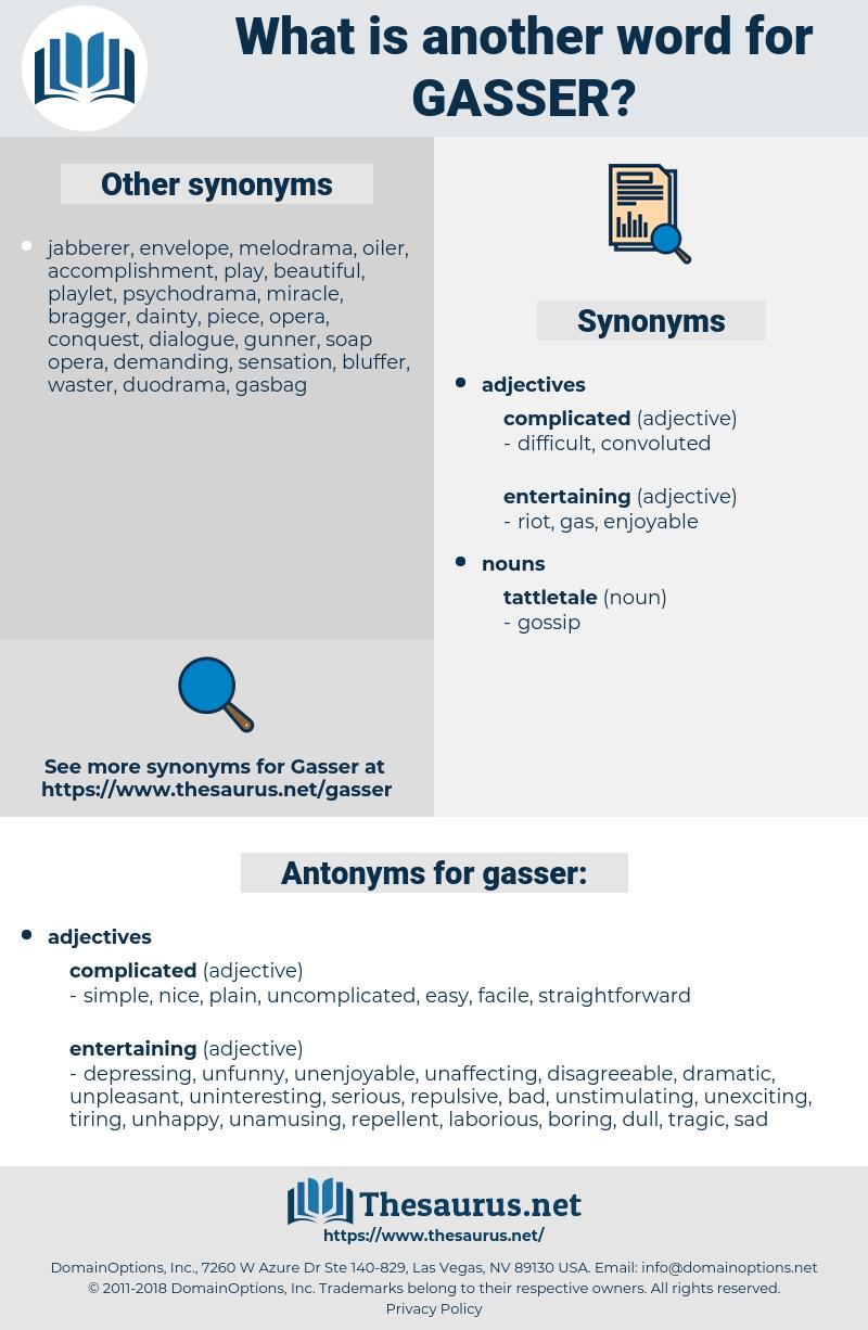gasser, synonym gasser, another word for gasser, words like gasser, thesaurus gasser