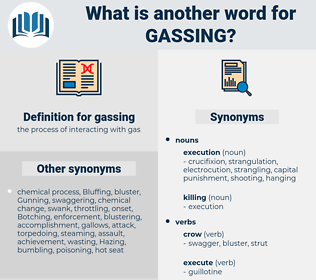 gassing, synonym gassing, another word for gassing, words like gassing, thesaurus gassing