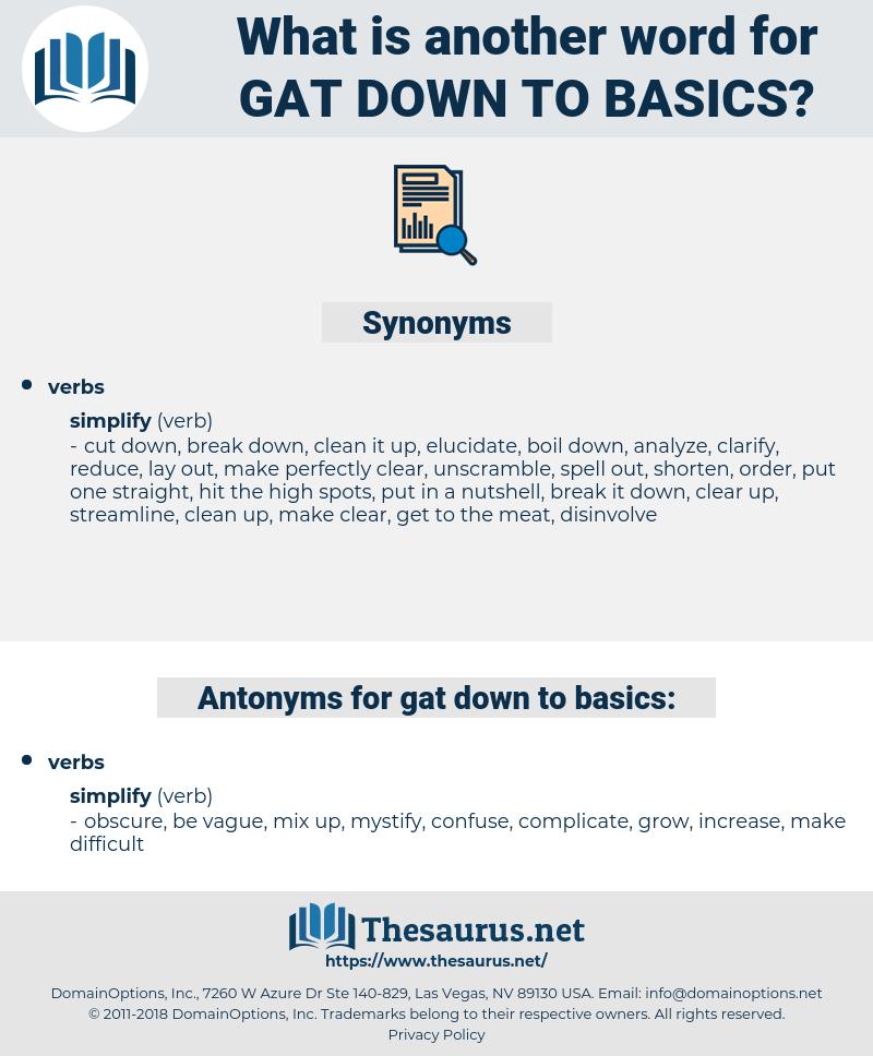 gat down to basics, synonym gat down to basics, another word for gat down to basics, words like gat down to basics, thesaurus gat down to basics